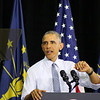 LYNNE ZEHR | THE GOSHEN NEWS<br /> President Obama speaks at Concord High School.