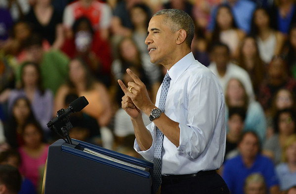 HALEY WARD | THE GOSHEN NEWS<br /> President Barack Obama speaks to a crowd at Concord High School on Wednesday.