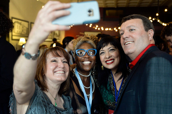 BEN MIKESELL | THE GOSHEN NEWS<br /> Val Collins, left, Goshen, takes a selfie with Michele Fanfair-Steury, Carrie Lee Bland Kendall and Brad Collins.
