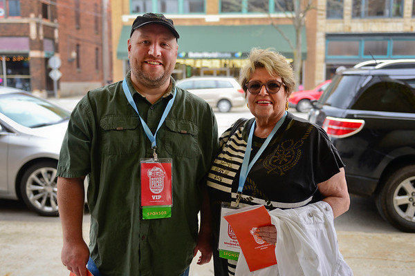 BEN MIKESELL | THE GOSHEN NEWS<br /> Joel Thompson, left, and Cyd Maravolo, president and vice president of Mid America Filmmakers.