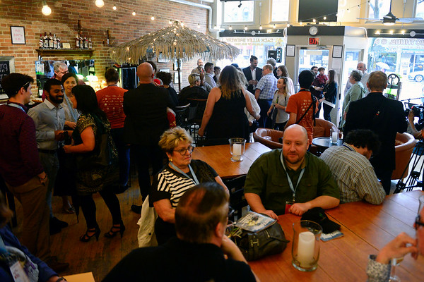 BEN MIKESELL | THE GOSHEN NEWS<br /> People mingle during the opening reception for the 2018 River Bend Film Festival Thursday at Gateway Cellar Winery in Goshen.