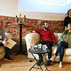 "LEANDRA BEABOUT | THE GOSHEN NEWS<br /> Dave Kendall, left, acted as moderator for the ""Road to the Oscars"" morning session with Chris Overton and Rachel Shenton."