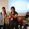 LEANDRA BEABOUT | THE GOSHEN NEWS<br /> Carrie Lee Bland Kendall, center, introduces Oscar winners Chris Overton and Rachel Shenton before their Friday morning coffee talk session.
