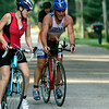 SHERRY VAN ARSDALL | THE GOSHEN NEWS<br /> Two particpants completed a 15.8 mile bike ride during the second portion of the Rock the Quarry Triathlon at Fidler Pond in Goshen Saturday.