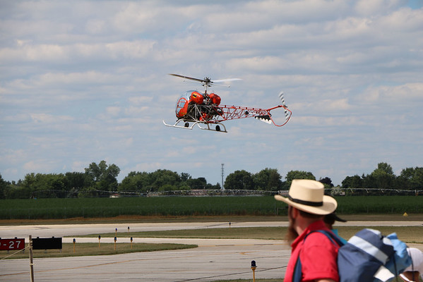 "GEOFF LESAR | THE GOSHEN NEWS<br /> <br /> The Batcopter, from the ""Batman"" television series, executes a landing at Goshen Municipal Airport during the fifth annual Rotors 'n Ribs air sho"