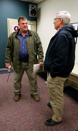 JULIE CROTHERS BEER | THE GOSHEN NEWS<br /> Sen. Blake Doriot, R-Syracuse, speaks with Elkhart County Commissioner Mike Yoder after a Third House meeting Saturday, March 4 at the Goshen Chamber of Commerce.
