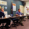 JULIE CROTHERS BEER | THE GOSHEN NEWS<br /> Lawmakers Rep. Wes Culver, R-Goshen, and Sen. Blake Doriot, R-Syracuse, spoke to local residents during a Third House meetign Saturday, March 4 at the Goshen Chamber of Commerce. Bill Davis, far right, served as moderator.