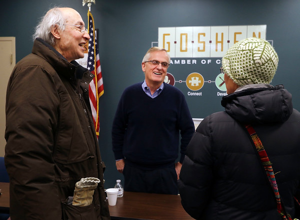 JULIE CROTHERS BEER | THE GOSHEN NEWS<br /> Rep. Wes Culver, R-Goshen, speaks with constituents after a Third House meeting Saturday, March 4 at the Goshen Chamber of Commerce.