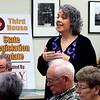 JULIE CROTHERS BEER | THE GOSHEN NEWS<br /> Goshen resident Marilyn Torres asks lawmakers a question about ISTEP and teacher bonuses during a Third House meeting Saturday, Jan. 21 at the Goshen Chamber of Commerce.