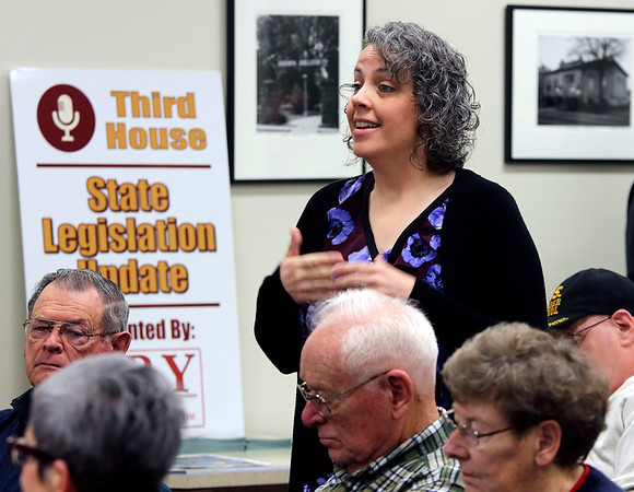 JULIE CROTHERS BEER | THE GOSHEN NEWS Goshen resident Marilyn Torres asks lawmakers a question about ISTEP and teacher bonuses during a Third House meeting Saturday, Jan. 21 at the Goshen Chamber of Commerce.