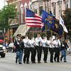SHEILA SELMAN   THE GOSHEN NEWS<br /> A color guard representing veterans groups marches in Goshen's Memorial Day parade Monday.
