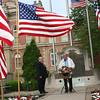 SHEILA SELMAN   THE GOSHEN NEWS<br /> Goshen Mayor Allan Kauffamn makes a Memorial Day speech at the Elkhart County War Memorial in Goshen Monday.