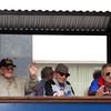SHEILA SELMAN   THE GOSHEN NEWS<br /> Elkhart County veterans wave during the Memorial Day parade Monday.