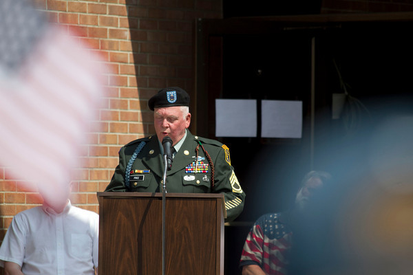 Sgt. Dewey Price speaks during the Nappanee Memorial Day service.