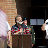Steve Hunsberger sings the national anthem at the Nappanee Memorial Day service.