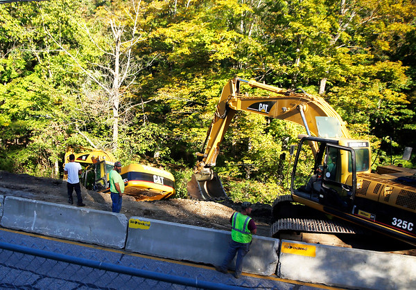 Excavator falls into ditch in North Bennington. 0920
