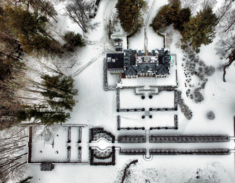 BEN GARVER — THE BERKSHIRE EAGLE<br /> This aerial photograph of The Mount and its surrounding landscape shows the restoration efforts to preserve Edith Wharton's home, which was built in 1902.   Restoration efforts  began in 1997 and continue today.