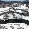 BEN GARVER — THE BERKSHIRE EAGLE<br /> Areial view of oxbows on the Housatonic River in Lenox near the Decker Canoe Launch, Monday, January 2, 2016.