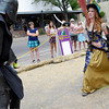 "Stacey Rose, of Broomfield, acts as pirate Scarlet Rose and sword fights against Badger Carpio, of Golden, acting as the Black Knight at the first annual festival of faerie in Lafayette Saturday afternoon. Both Rose and Carpio are from Castle Wall Productions, specializing in performing. The festival featured music, entertainment and various faerie themed activities.<br />  <a href=""http://www.dailycamera.com"">http://www.dailycamera.com</a><br /> Rachel Woolf/ For the Camera"