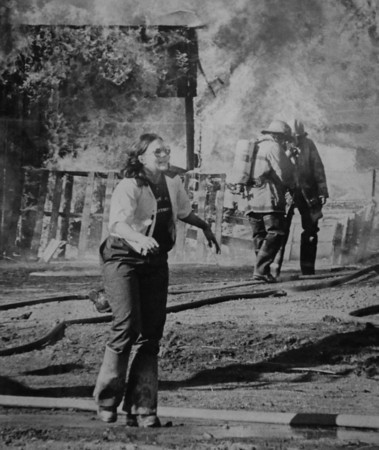"Firefighter Catherine Stengel shouts for help at the scene of the 1982 fatal fire training accident.<br />  For more photos of the fatal training accident go to  <a href=""http://www.dailycamera.com"">http://www.dailycamera.com</a><br /> DAILY CAMERA FILE PHOTOS"