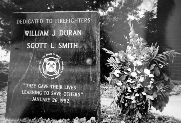"A memorial dedicated to the two firefighters that died in the 1982 fatal fire training accident.<br />  For more photos of the fatal training accident go to  <a href=""http://www.dailycamera.com"">http://www.dailycamera.com</a><br /> DAILY CAMERA FILE PHOTOS"