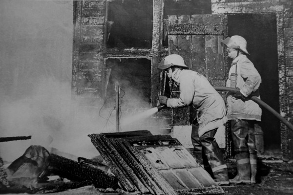 """Firefighters Eileen Thayer and Phillip Anselmi work on the scene of the 1982 fatal fire training accident.<br />  For more photos of the fatal training accident go to  <a href=""""http://www.dailycamera.com"""">http://www.dailycamera.com</a><br /> DAILY CAMERA FILE PHOTOS"""