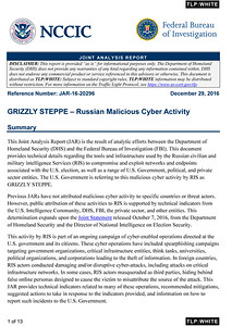 JAR-16-20296: GRIZZLY STEPPE – Russian Malicious Cyber Activity