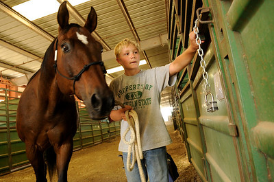 "Tyler Faye, 12, of Firestone, puts ""Moose"" the horse back in his stall at the Indoor Arena at the Boulder County Fairground in Longmont on Thursday, July 29. Faye was returning the horse after cleaning him for halter and showmanship. Jeremy Papasso/ Camera"