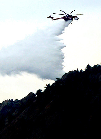 0627FIRE3.jpg A Ski Crane make a water drop on top of Bear Mountain at the Flagstaff <br /> Fire  in Boulder, Colorado June 27, 2012.  DAILY CAMERA/ Mark Leffingwell