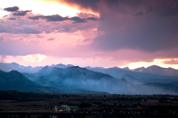 View of Boulder and smoke from the Flagstaff Fire as seen on Tuesday evening.<br /> Photo by Tim Seibert / The Daily Camera