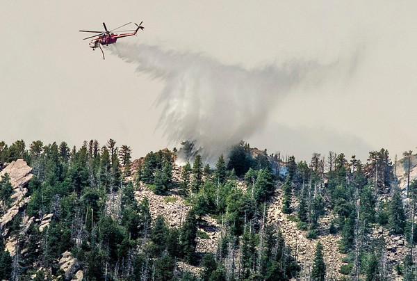 A helicopter works the Flagstaff Fire on Wednesday morning June 27, 2012<br /> PHOTO COURTESY Tony Johnson