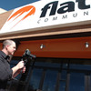 FLATIRONS6.jpg Flatirons Community Church Creative Director Chris Coleman videotapes the church exterior in Lafayette on Thursday March 17, 2011. Coleman is producing a video of the project of the new church building<br /> Photo by Paul Aiken