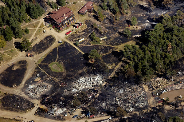 FOURMILE FIRE AERIALS SATURDAY<br /> The Colorado Mountain Ranch in Gold Hill suffered extensive damage in the Fourmile Fire.<br /> Photo by Paul Aiken