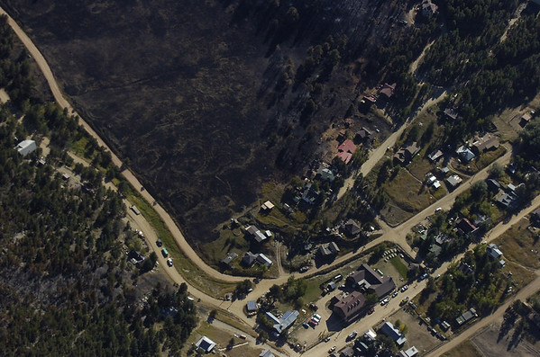 FOURMILE FIRE AERIALS SATURDAY<br /> Views of the downtown area of Gold Hill which was mostly save from the Fourmile Fire.<br /> Photo by Paul Aiken