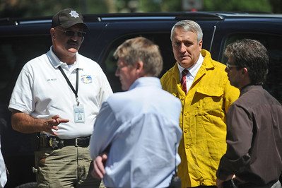 4MILETUES Boulder County Sheriff Joe Pelle, left, and Colorado governor Bill Ritter, right, prepare to speak to the press on Tuesday after touring the Fourmile Canyon Fire. Photo by Marty Caivano/Camera/Sept.7, 2010