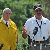 4MILETUES<br /> Colorado governor Bill Ritter, left, and Boulder County Sheriff Joe Pelle, right, speak to the press on Tuesday after touring the Fourmile Canyon Fire.<br /> Photo by Marty Caivano/Camera/Sept.7, 2010