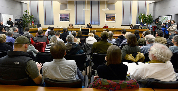 20121213_OIL_AND_GAS_016.jpg County Commissioners make statements to a packed audience during a meeting, Thursday, Dec. 13, 2012, at the Boulder County Courthouse. (Matthew Jonas/Times-Call)