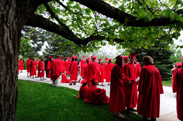 FVGRAD<br /> Fairview High School graduates gather outside the Coors Event Center before their commencement on Sunday.<br /> <br /> Photo by Marty Caivano/May 22, 2011