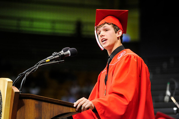 FVGRAD<br /> Zach Strand welcomes his Fairview High School classmates at their commencement at the Coors Event Center on Sunday.<br /> <br /> Photo by Marty Caivano/May 22, 2011