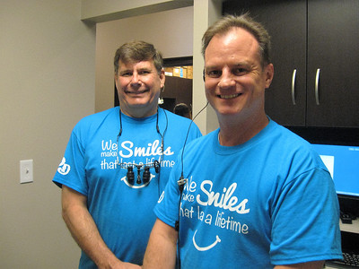 BOB SANDRICK / GAZETTE Dr. Richard Skoula, left, and Dr. Matthew Kirlough, of Family Dental Care of Medina, hosted their first Free Dentistry Day on Saturday.