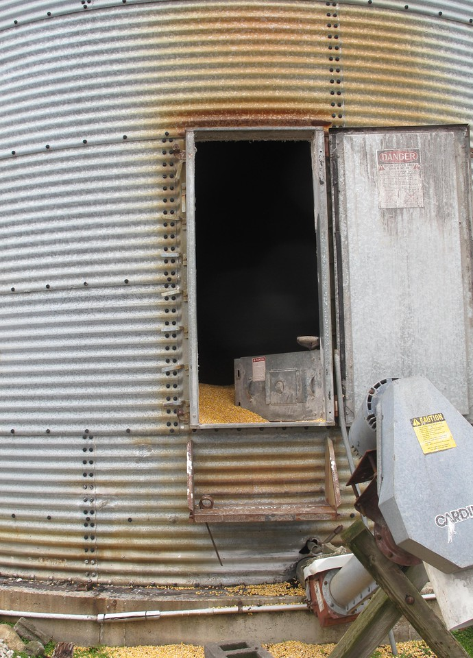 ELIZABETH DOBBINS / GAZETTE A fall into a silo like this could be life threatening due to the weight of the grain, according to regional Ohio Farm Bureau director John Fitzpatrick.