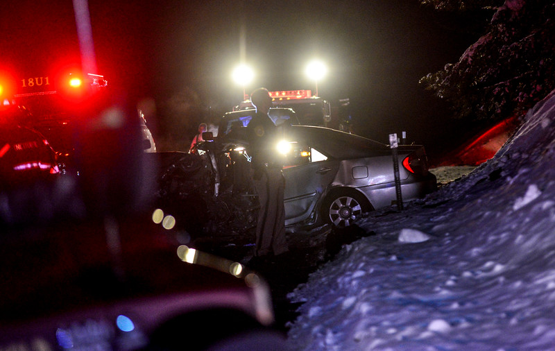 "KRISTOPHER RADDER - BRATTLEBORO REFORMER<br /> State and local police investigate a head-on motor vehicle collision on New Hampshire Route 63, in Hinsdale, that left a young male dead on Friday, March 9, 2018.  Five people were traveling in the two vehicles. Two people were transported for serious injuries to Brattleboro Memorial Hospital, in Brattleboro, Vt., and a third person took themselves to a hospital with unknown injuries. One person was ejected from one of the vehicles. Brattleboro Fire Department was called to the scene to use the ""Jaws-of-Life"" to get one of the passengers. Route 63 will be closed down during the investigation."