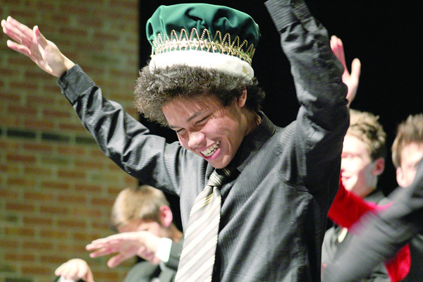 Thomas Diep celebrates after he is crowned Mr. Zionsville of 2014.