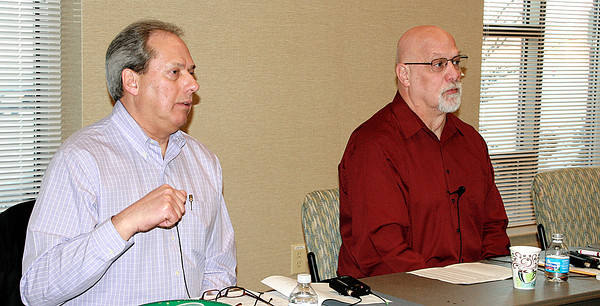 Reporter photo by Rod Rose<br /> State Sen. Phil Boots (left) and State Rep. Tim Brown answer questions from about three dozen people who attended a legislative breakfast Saturday in Lebanon.