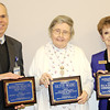 Reporter photo by Rod Rose<br /> Recipients of awards presented by Boone County Senior Services, Inc., at a breakfast Wednesday include Stephen J. Bardoczi, vice president of planning and senior services at Witham Health Services, which received the Spirit of Community honor; Olive Wade, Volunteer of the Year, and Sharon Walker, who with her husband, Bill, received the Margaret A. Corson Distinguished Senior award.