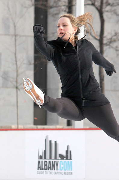Mike McMahon - The Record, 2002 Olympic gold medalist Sarah Hughes will make a special visit to the Capital Region with appearances at the Empire State Plaza ice rink .  Febuary 01, 2014.