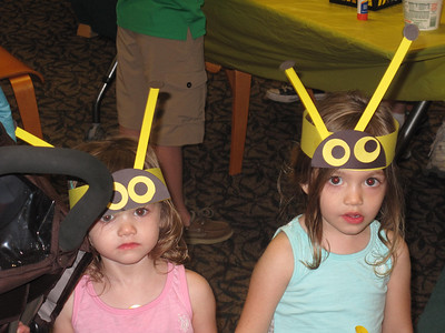 BOB FINNAN / GAZETTE These little bees were at the Bee Festival Saturday at the Medina Library. They are Ella Rudowicz, 2, of Westfield, and sister Lily, 3.