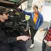 """BEN GARVER — THE BERKSHIRE EAGLE<br /> Director of photography Andrew Percival, writer Christian Freylinghuysen and actor Kyle Derosiers (Nathan) talk between scenes as crew make a feature film called """"Stroke of Luck"""" by local young director and writer Christian Freylinghuysen, and produced by Mark Farrell at Orleton Farm in Stockbridge (one of many Berkshire locations.) Tuesday, October 8, 2019."""