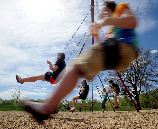 """Several people took advantage of the warm Saturday by playing at Scott Carpenter Park.<br /> For more photos and a video at Scott Carpenter Park, go to  <a href=""""http://www.dailycamera.com"""">http://www.dailycamera.com</a>.<br /> Cliff Grassmick/ May 7, 2011"""