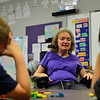 KRISTOPHER RADDER — BRATTLEBORO REFORMER<br /> Cynthia Payne-Meyer, a former teacher at Westminster Elementary School, explains a math equation using blocks on May 30, 2018.